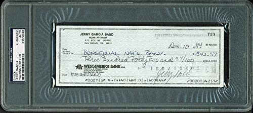 - Jerry Garcia Grateful Dead Signed 3x8.25 Check Dated April 14, 1984 Slabbed - PSA/DNA Certified