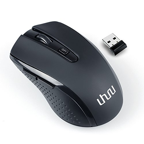 Uhuru WKM-14 2.4G Wireless Mouse Portable Computer Optical Mouse Cordless Laser Travel Mice with Nano Receiver, 5 Buttons, 800/1200/1600 DPI for Notebook, PC, Laptop, Macbook (5 Mouse)