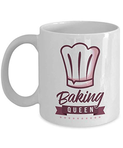 Baking Queen Chef's Hat Cooking Themed Ceramic Coffee & Tea Gift Mug, Stuff, Kitchen Supplies, Décor, Items & Accessories For Home Cook Mom, Pastry Chef, Bread Baker & Cupcake Or Cake Bakers (11oz)