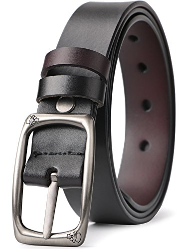 Jeans Leather Ladies (Women Leather Reversible Belt for Jeans Dress Pants Casual Ladies Belt for Girls with Solid Buckle By JASGOOD)
