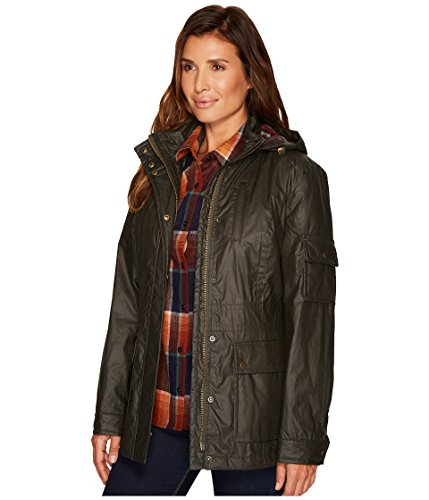 Pendleton Women's Waxed Cotton Hooded Zip Front Jacket, Olive, M by Pendleton (Image #2)