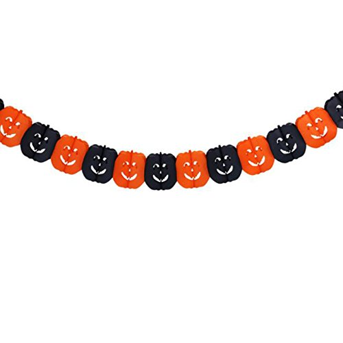 Kicode Paper Chain Garland Banner Halloween Party Ghost Pumpkin Witch Shape Hanging Flag Bunting Decor Decoration Props Pumpkin Banner Flag