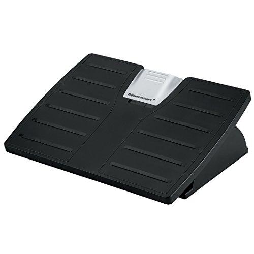 Microban Adjustable Footrest - Fellowes 8035001 Adjustable Locking Footrest w/Microban, 17 1/2 x 13 1/8 x 5 5/8, Black/Silver
