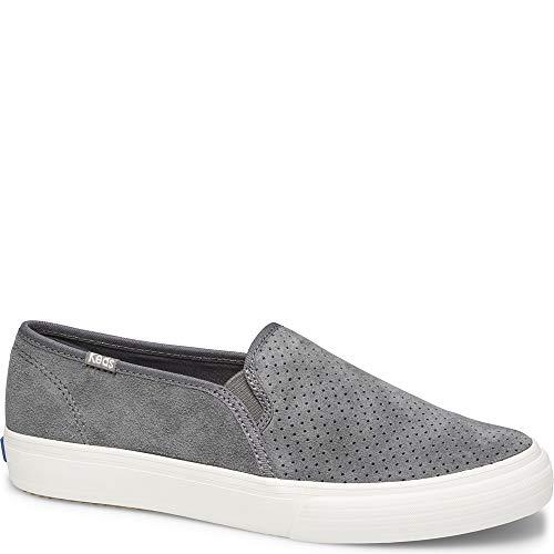 Keds Women's Double Decker PERF Suede Sneaker, Gray, 8 M US (Women Shoes Kids)