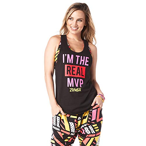Zumba Women's Graphic Design Loose Breathable Workout Tank Top, Back to Black 5, Small