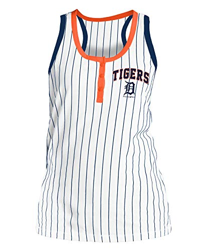 New Era Detroit Tigers Women's Triple Crown Pinstripe Racerback Tank Top Medium ()
