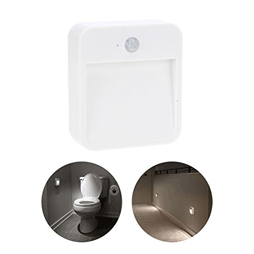 Efanr Mini Square Motion Sensor LED Night Light Battery Powered Human Body Infrared Muti-Function Safety Wall Lamp Lighting Kitchen Bedroom Drawer Closet Cabinet Corridor Nightlight