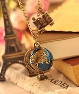 Amazon world map globe necklace vintage globe pendant world new vintage terrestrial globe telescope long body sweater chain antique bronze necklaces pendants for women gumiabroncs Image collections