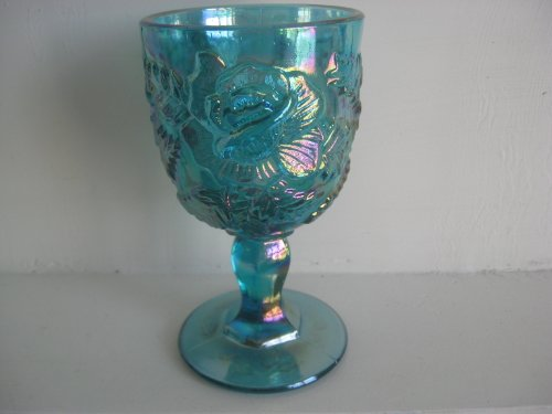 Tall Teal Carnival Luster Large Water Goblet with Raised Rose Design