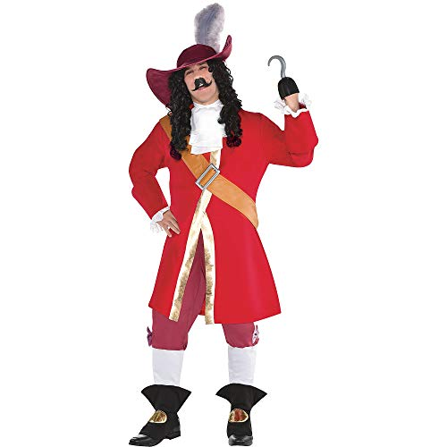 SUIT YOURSELF Captain Hook Halloween Costume for Men, Peter Pan, Plus Size, Includes Accessories