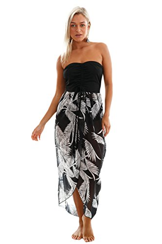 LittleLittleSky Womens Black White Printed Sheer Chiffon ...