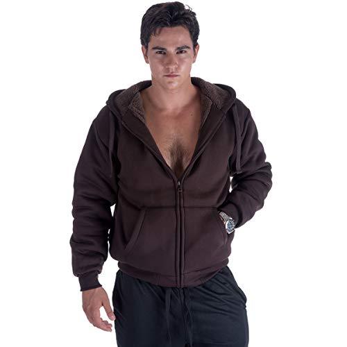 Leehanton Full Zip Hoodie Mens Sherpa Lined Heavyweight Winter Long Sleeve Jacket (X-Large, Brown)
