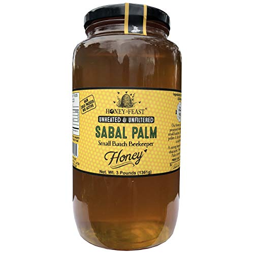 Gourmet Florida Palm Honey - 3 Pound Glass Jar. Raw, Unheated, Unfiltered USA Honey Feast brand honey. Hand crafted small batch beekeeper honey from Florida. USA Honey. by Honey Feast