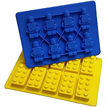 Jollylife Building Bricks and Minifigure Ice Cube Tray or Candy Chocolate Crayon Mold --For Lego Lovers