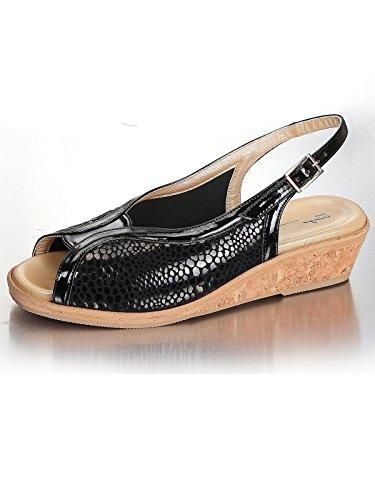 Marion Spath Damen 300-520 Lackleder Komfort-Sandale Schwarz
