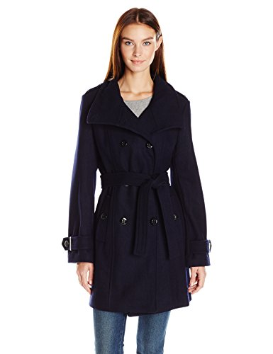 Calvin Klein Women's Wool Belted Double Breasted Coat, Navy, S