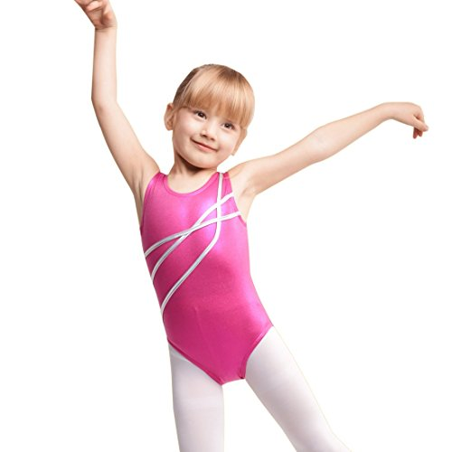 Girls Gymnastics Tank Leotard,Sparkle Mystique Dance Leotards For Kids (ROSE RED, 150(Recommended Age 8-9 Years))
