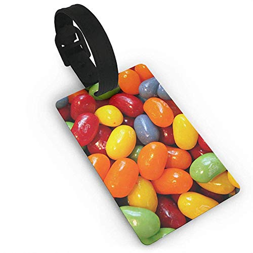 HappyToiletLidCoverX Luggage Tags Holders for Travel Luggage, Luggage Tags for Suitcases, Halloween Sour Gummy Jelly Beans Plastic PVC Luggage Tags Suitcase Labels Travel Bag ID Tags Size 2.2