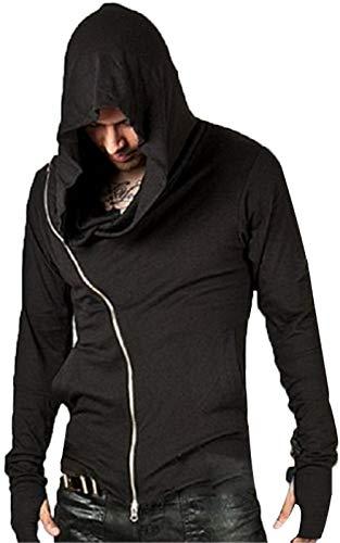 (JOKHOOMen's Cool Side Zipper Assassin's Robe Hoodies (Black,)