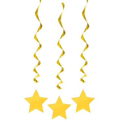 Hanging Yellow Star Decorations 3ct