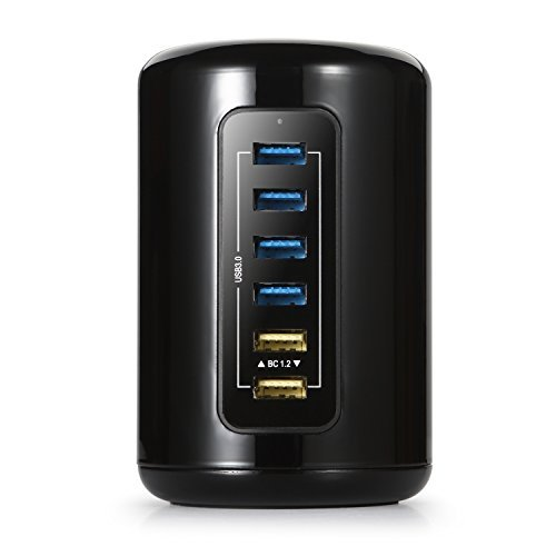 iHarbort 6 Port USB 3.0 Hub Multi-Functional Charger Station with 4 Ports USB 3.0 USB Hub + SD/ TF Card Reader + 2 BC 1.2 Charging Port With 5V/ 2.4A Smart Charger by iHarbort