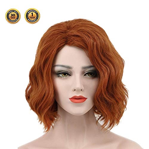 Black Widow Wig for Women - Bob Wigs Human Hair Short Curly Avengers Black Widow Cosplay Costume for Lady Brown ()