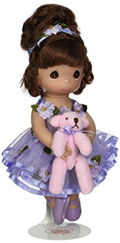 The Doll Maker Precious Moments Dolls, Linda Rick, Dance with Me , Ballerina, Brunette, 9 inch Doll - Moments Vinyl Precious Doll