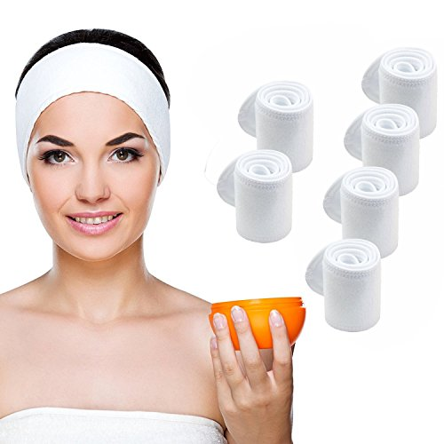 Head Velcro - Teemico 6 Pack Premium Spa Facial Headband Head Wrap Terry Cloth Headband Stretch Towel with Magic Velcro for Shower, Makeup and Sport, 4