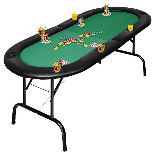 Giantex Folding Play Poker Table w/Cup Holder, for Texas Casino Leisure Game Room, Foldable Blackjack Table (8 Player (Poker Table)) (Money In The Middle Of Poker Table)