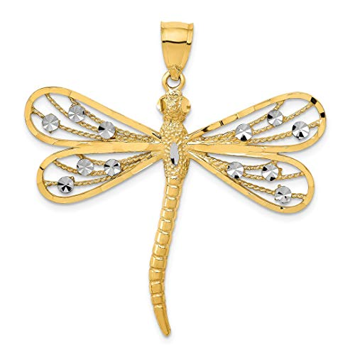 14k Two Tone Yellow Gold Filigree Dragonfly Pendant Charm Necklace Insect Fine Jewelry For Women Gift Set
