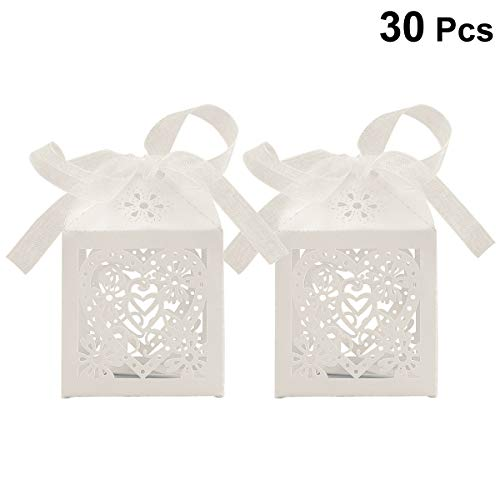 BESTONZON 30Pack Love Heart Wedding Party Favor Box with Ribbons, Candy Bag Chocolate Gift Boxes for Birthday/Shower (Ivory White)