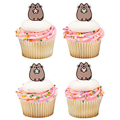 Pusheen Cat Cupcake Cake Decopics Pics Picks Toppers Decorations 12 Count: Grocery & Gourmet Food