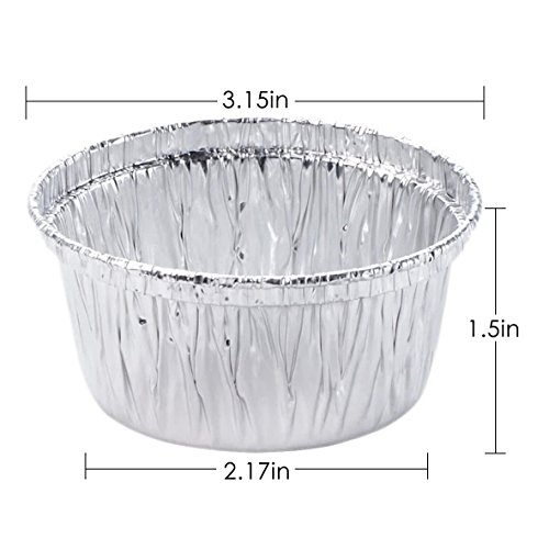 FredPack 100Pcs Aluminum Foil Ramekins Cupcake Liners Disposable Baking Cups Tin Foil Pans Cups (Pack Of 100) by fred life (Image #1)