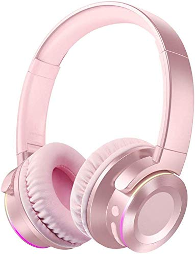 WUAZ Wireless Bass Surround Sound Headsets, Bluetooth Connectivity Built-in Mic Volume Control Breathable Earcups Led Light Sports Headphones,Pink