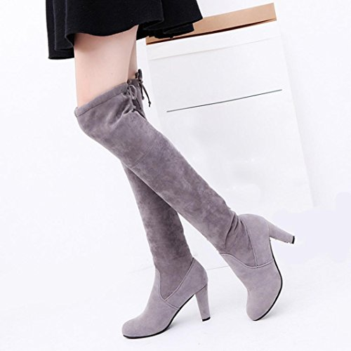 Women Boots Knee Faux Over High The Heels Shoes fashion Gray High Boots Stretch Slim Kolylong dvBwtqdz