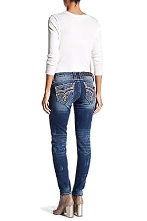 a0c3aef5606 Rock Revival Womens Ellor Rhinestone Skinny Jeans Denim