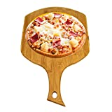 Bamboo Wood Pizza Peel Square, Pizza Paddle Cutting Board with Handle for Homade Baking Pizza, Bread, Cutting Fruit, Vegetables, Cheese and Serving board (B)