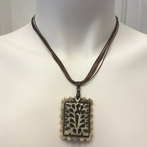 (Carved Bone Pendant on a Bronze Metallic Multi Strand Polyester Cord Necklace)