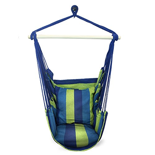 Sorbus® Blue Hanging Rope Hammock Chair Swing Seat for Any Indoor or Outdoor Spaces- Max. 265 Lbs -2 Seat Cushions Included by Sorbus®