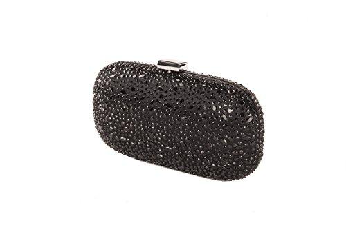 Anna Cecere – clucth satin med eleganta mikrostuds och kristall, perfekt för bröllop och ceremonier – svart