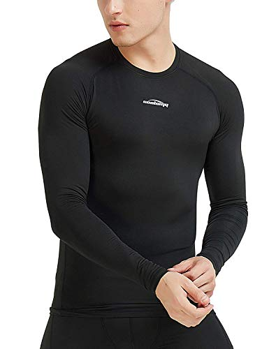 COOLOMG Men's Thermal Fleece Lined Shirts Compression Baselayer Long Sleeved Tops Black XS