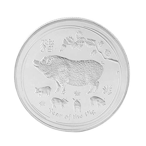 dezirZJjx 2019 Fu Pig Pig Year Commemorative Coin Offers Money Coins New Year Gift Gold Plated Good Fortune Home Car Decoration Silver