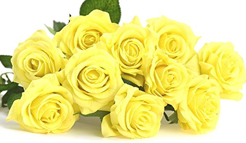 10 Yellow Roses (FiveSeasonStuff 10 Yellow Stems of Real Touch Silk s 'Petals Feel and Look like Fresh Roses' Artificial Flower Bouquet for Wedding Bridal Office Party Home Decor)