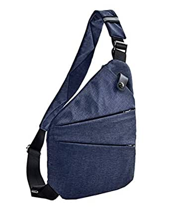 COMVIP Men's Lightweight Casual Daypack Adjustable Chest Shoulder Bag Blue