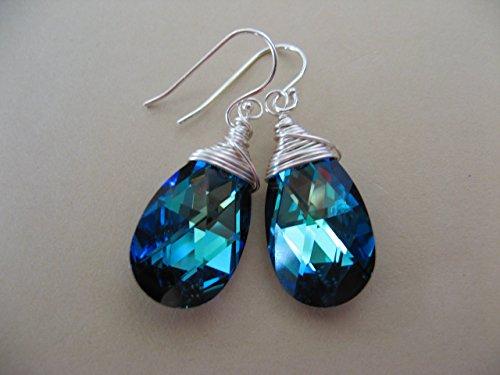 Bermuda Blue Swarovski Crystals on Sterling Sterling Silver Earring Wires Boho Glam Wire Wrap Jewelry (Bermuda Blue Crystal)