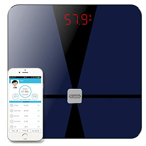 Bluetooth Body Fat Scale, Dr.meter Digital Bathroom Weight Scale with iOS and Android App, Body Composition Analyzer Health Monitor with Sensitive ITO Conductive Tempered Glass Surface-Elegant - Meter Professional Fat Body
