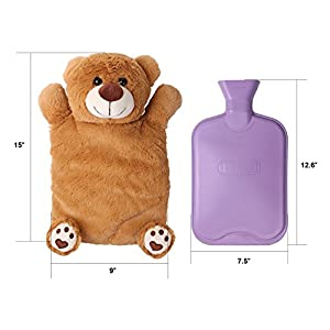 HomeTop Premium Classic Rubber Hot or Cold Water Bottle with Cute Stuffed Animal Cover (2 Liters, Light Brown Bear)