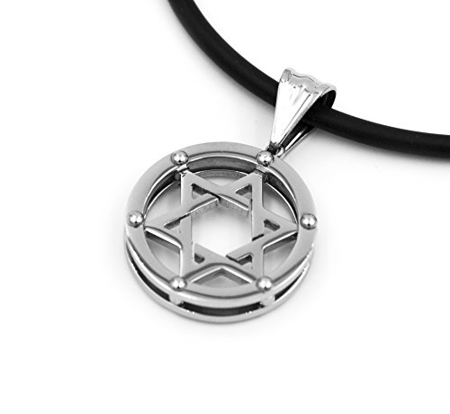 Stainless Steel Silver Star of David Charm Round Medallion Oval Pendant Necklace with Leather Cord Chain Mens Womens 20