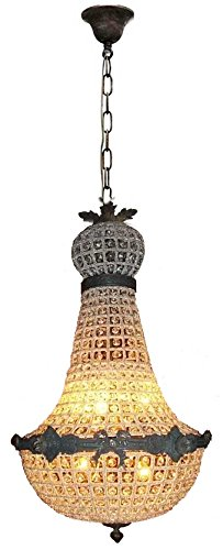Egypt gift shops 20″Wx60″Hx20″D French Empire Antique Replica Basket Cage Crystal Dome Aged Bronze Finish Brass Chandelier Lamp