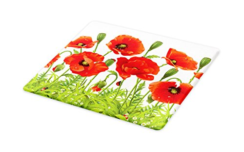 (Lunarable Ladybugs Cutting Board, Horizontal Border with Red Poppy Flower Bud Poppies Chamomile Wildflowers Lawn, Decorative Tempered Glass Cutting and Serving Board, Small Size, Red)